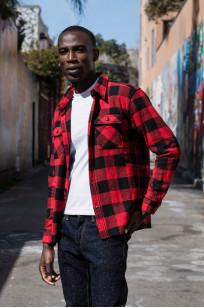 "Flat Head ""Trotwood"" Heavy Winter Flannel Workshirt - Red/Black - Image 4"