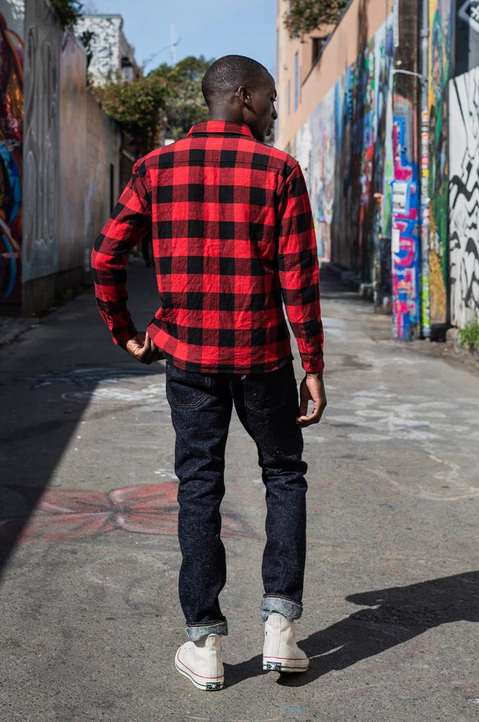 "Flat Head ""Trotwood"" Heavy Winter Flannel Workshirt - Red/Black - Image 6"