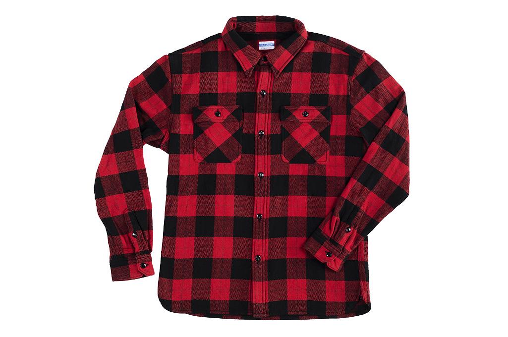 "Flat Head ""Trotwood"" Heavy Winter Flannel Workshirt - Red/Black - Image 8"