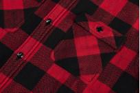 "Flat Head ""Trotwood"" Heavy Winter Flannel Workshirt - Red/Black - Image 9"