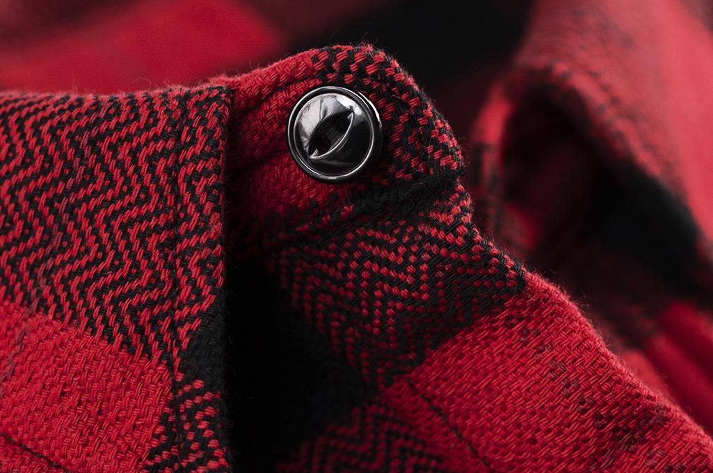 "Flat Head ""Trotwood"" Heavy Winter Flannel Workshirt - Red/Black - Image 12"
