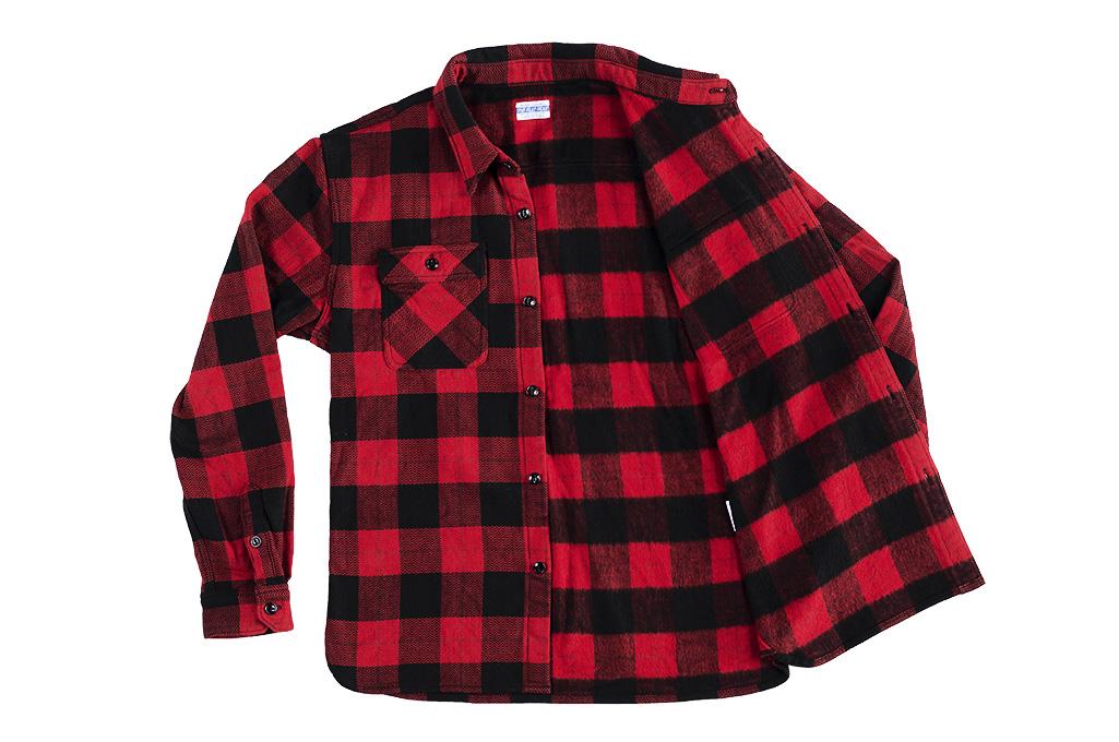 "Flat Head ""Trotwood"" Heavy Winter Flannel Workshirt - Red/Black - Image 15"
