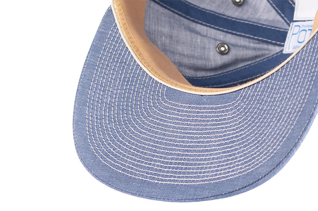 Poten Japanese Made Cap - Blue Cotton/Linen - Image 7