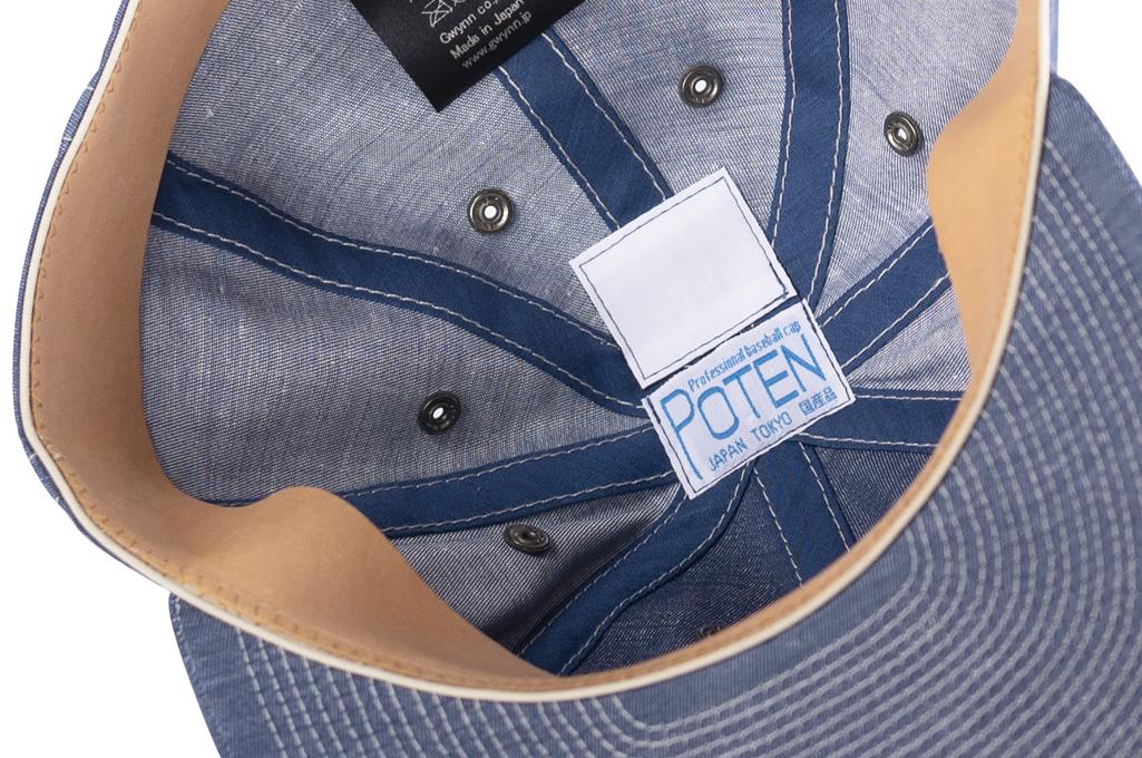 Poten Japanese Made Cap - Blue Cotton/Linen - Image 8