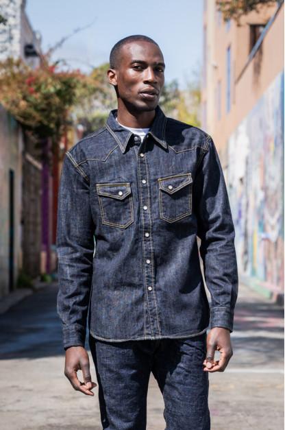 Flat Head NEXT Edition Western Shirt - 10oz Indigo Denim