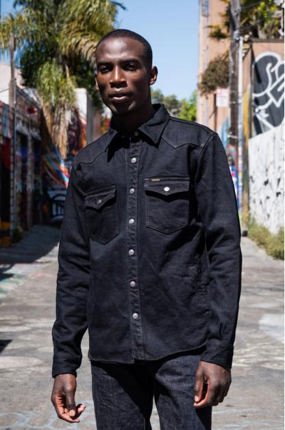 Iron Heart 18oz Vintage Indigo Denim CPO Shirt - Overdyed Black