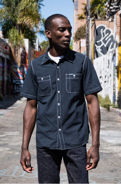Iron Heart 5.5oz Selvedge Overdyed Chambray - Short Sleeved Work Shirt