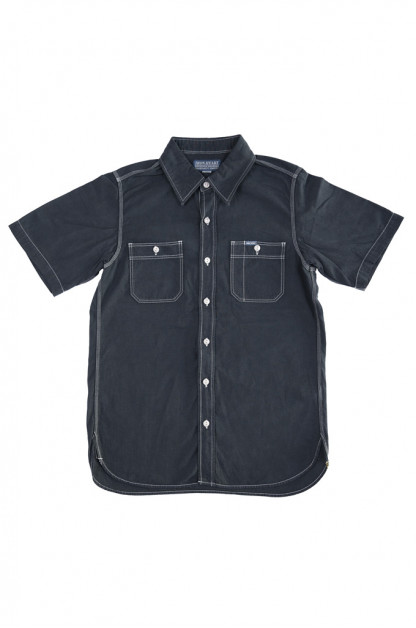 Iron Heart 5.5oz Selvedge Overdyed Chambray - Short Sleeved Work Shirt