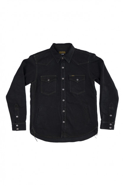 Iron Heart 18oz Vintage Indigo Denim CPO Shirt - Overdyed Black