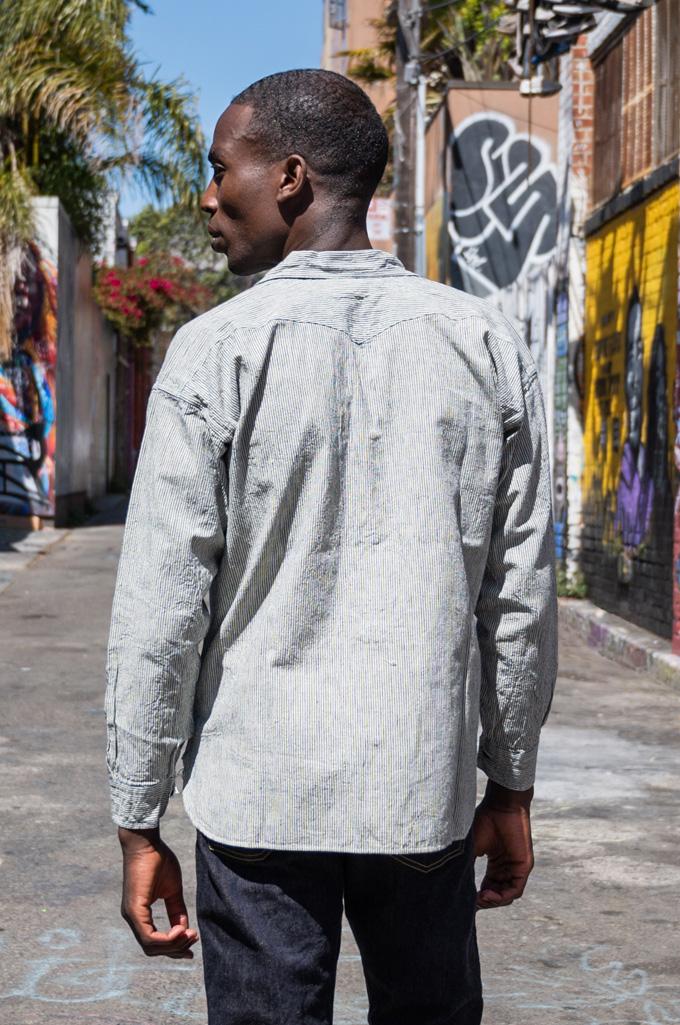 Sugar Cane AWA-AI Sugar Cane Fiber Blend Indigo Shirt - Off-White - Image 5