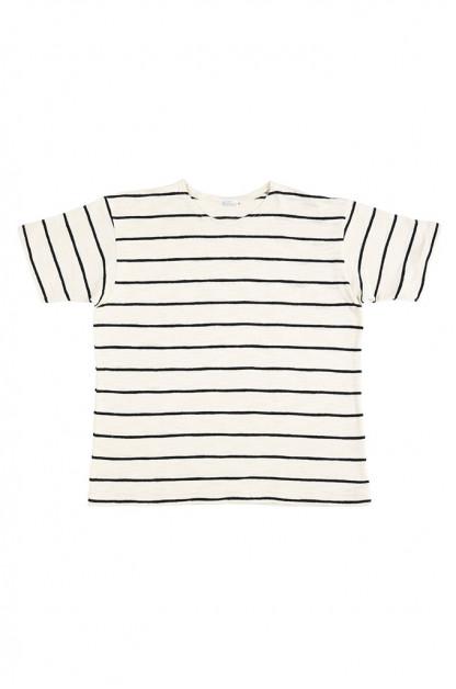 Warehouse Slub Cotton T-Shirt - Striped Off-White