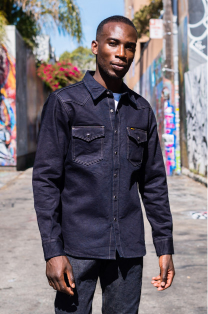 Iron Heart Selvedge Denim Snap Shirt - 14oz Indigo/Black