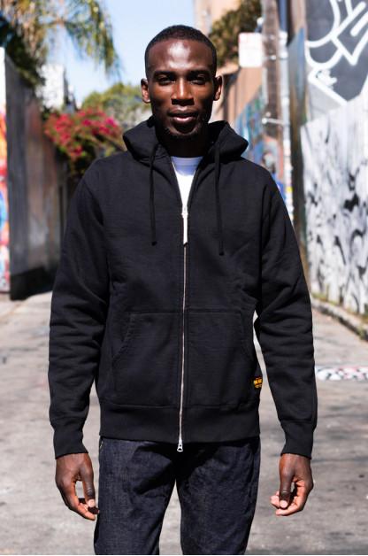 Iron Heart Ultra-Heavy Loopwheeled Hooded Sweater - Zip-Up Black