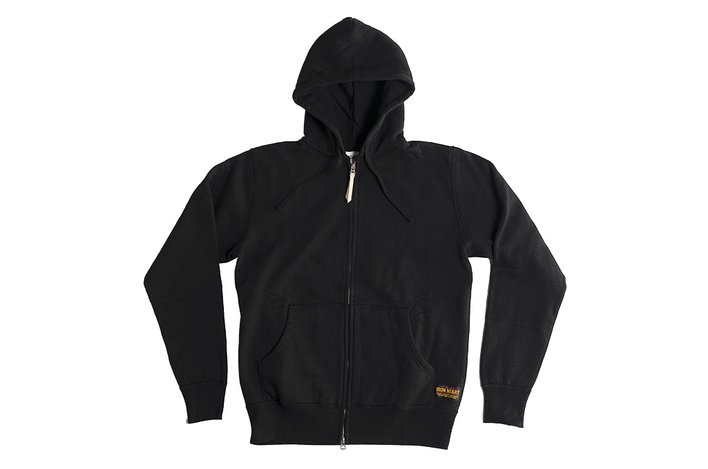 Iron Heart Ultra-Heavy Loopwheeled Hooded Sweater - Zip-Up Black - Image 8
