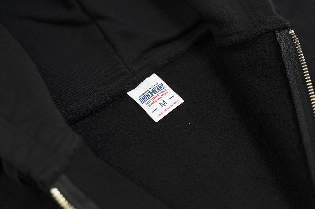 Iron Heart Ultra-Heavy Loopwheeled Hooded Sweater - Zip-Up Black - Image 9