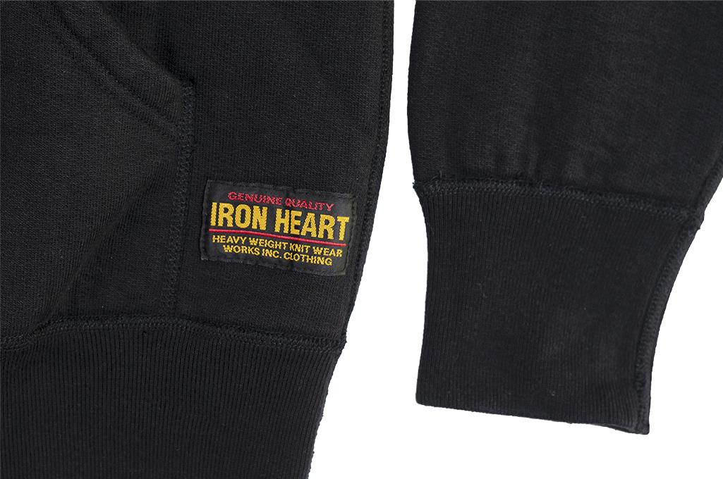 Iron Heart Ultra-Heavy Loopwheeled Hooded Sweater - Zip-Up Black - Image 12