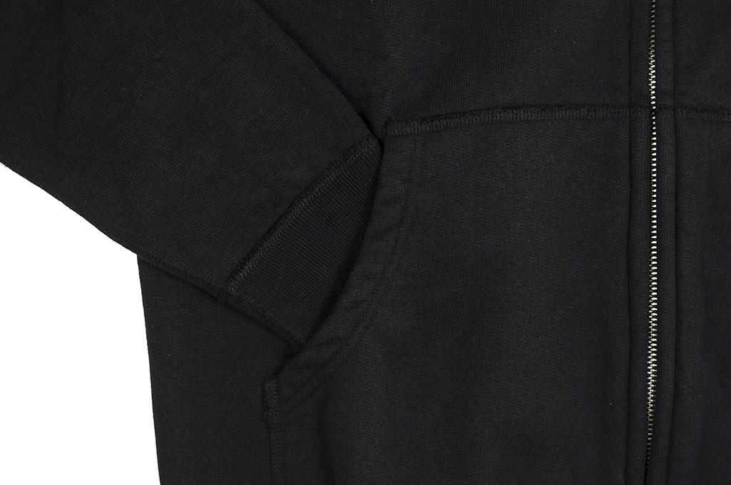 Iron Heart Ultra-Heavy Loopwheeled Hooded Sweater - Zip-Up Black - Image 13