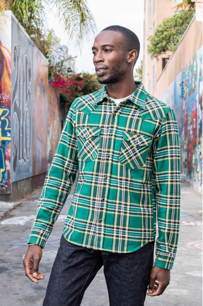 Iron Heart Ultra-Heavy Flannel - Green Tartan Check