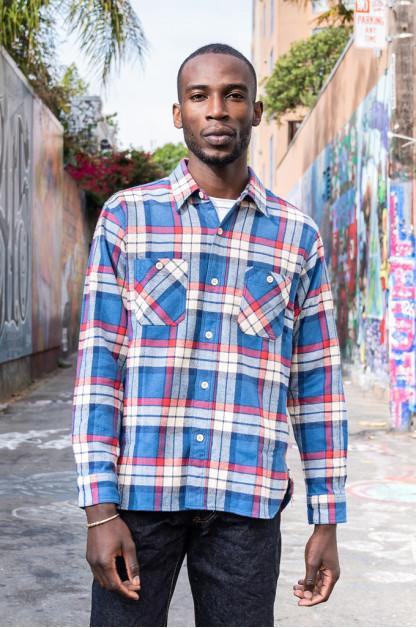 Sugar Cane Twill Check Flannel Shirt -  Oscillating Blue