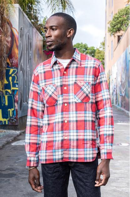 Sugar Cane Twill Check Flannel Shirt - Sinusoid Red