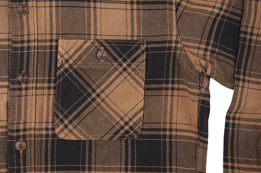 Studio D'Artisan Kakishibu (Persimmon) Dyed Flannel Shirt - Image 5