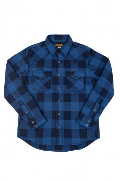 Iron Heart Ultra-Heavy Flannel - Indigo-Dyed Buffalo Check