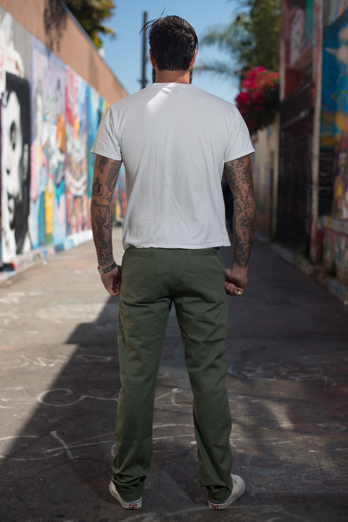 3sixteen Selvedge Chinos - Olive - Image 1