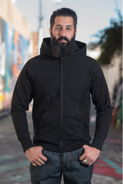 3sixteen Heavyweight Zippered Hoodie - Black