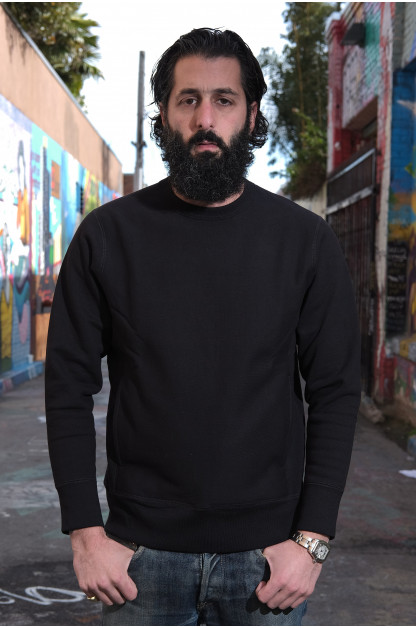 3sixteen Heavyweight Crewneck Sweater w/ Hand Pockets - Black