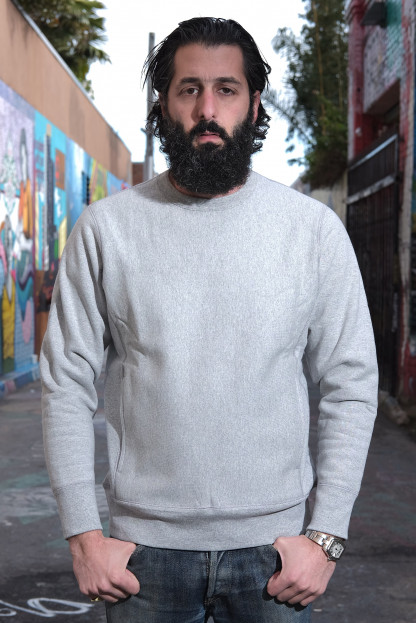 3sixteen Heavyweight Crewneck Sweater w/ Hand Pockets - Gray