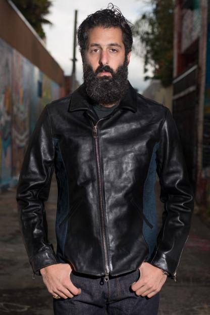 Nine Lives Yak Hide & Sashiko Leather Jacket - Black Yak Hide