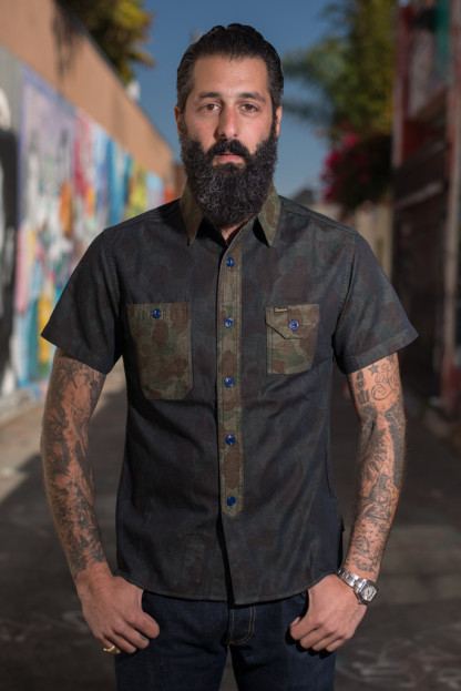Studio D'Artisan Snail on Razor Denim Camo Shirt