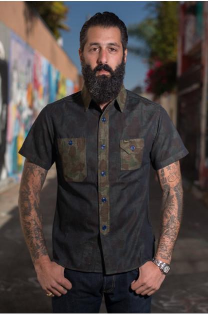 Studio D'Artisan Snail on Razor Denim Camo Shirt