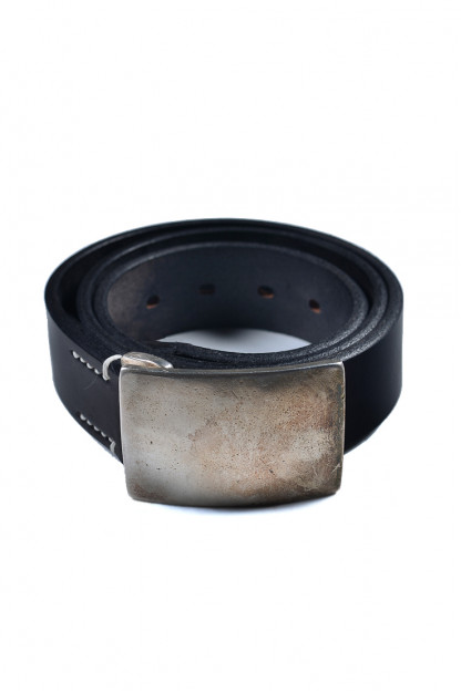 Flat Head Leather Belt - Black