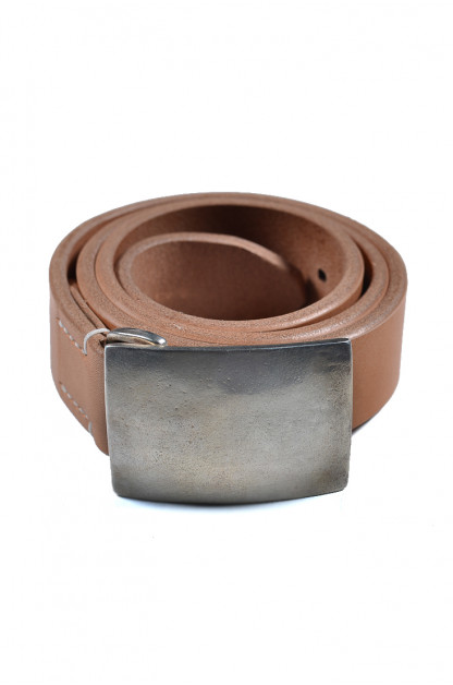 Flat Head Leather Belt - Tan