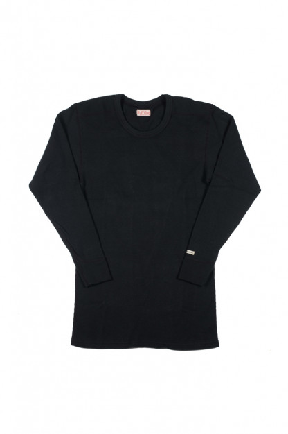 Flat Head Double Shoulder Heavy Thermal Shirt - Black