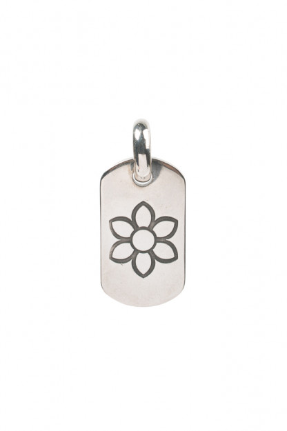 Good Art Sterling Silver Dog Tag Pendant - Medium/Rosette