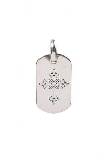 Good Art Sterling Silver Dog Tag Pendant - Medium/Spanish Cross