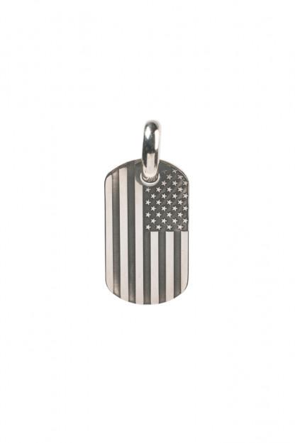 Good Art Sterling Silver Dog Tag Pendant - Medium/USA Flag