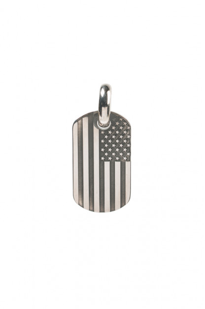 Good Art Sterling Silver Dog Tag Pendant - Medium/USA Flag