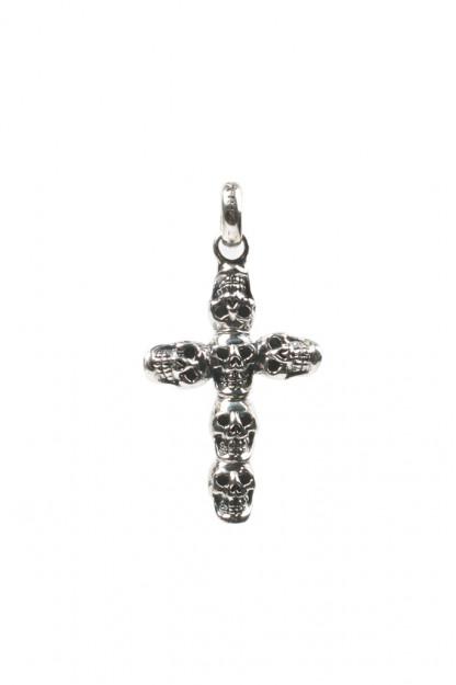 Good Art Jack Skull #2 Sterling Silver Cross Pendant