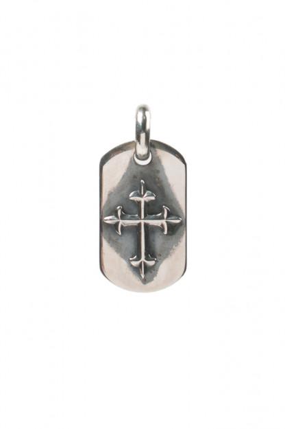 Good Art Sterling Silver Dog Tag - Medium/Raised Cross