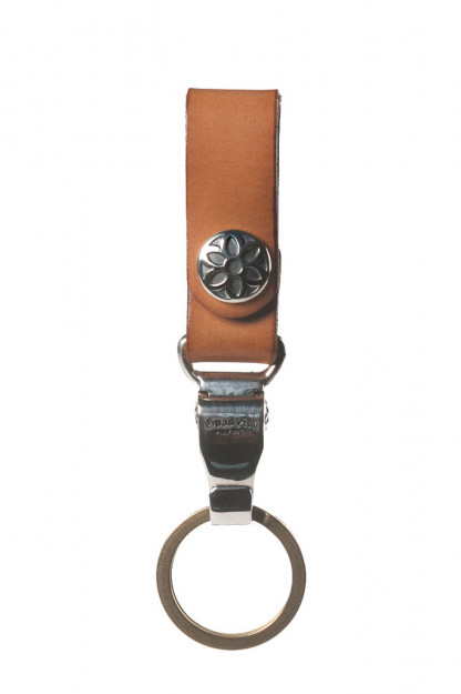 Good Art Leather Snap Key Ring w/ Sterling Clip 11 - Tan
