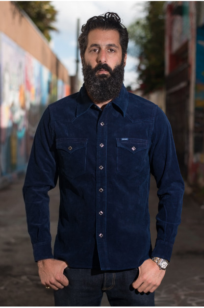 Iron Heart Indigo-Dyed Cord Shirt