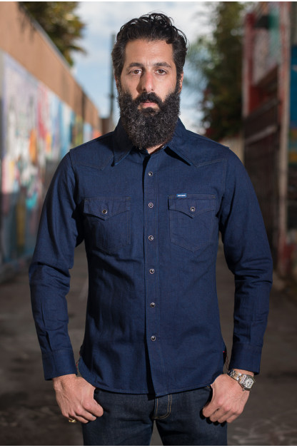 Iron Heart Indigo/Indigo Denim Western Shirt