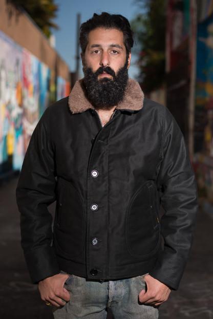 Iron Heart Alpaca-Lined N-1 Deck Jacket - Black