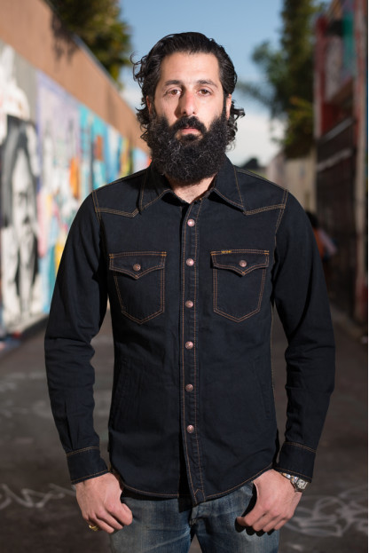 Iron Heart Overdyed Black 11.5oz Denim Overshirt