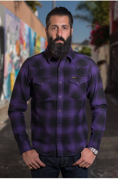 Iron Heart Ultra-Heavy Return of the Purps Ombre Flannel - Snap Buttoned