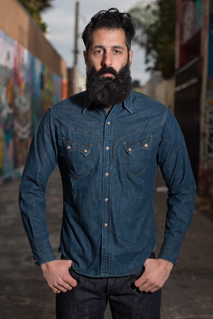 Stevenson Cody Snap Shirt - Washed Down Indigo Denim - Image 0