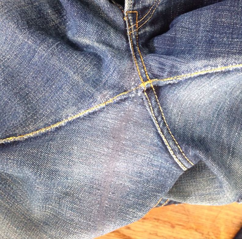 Repaired Hole in 21oz Denim (weft)